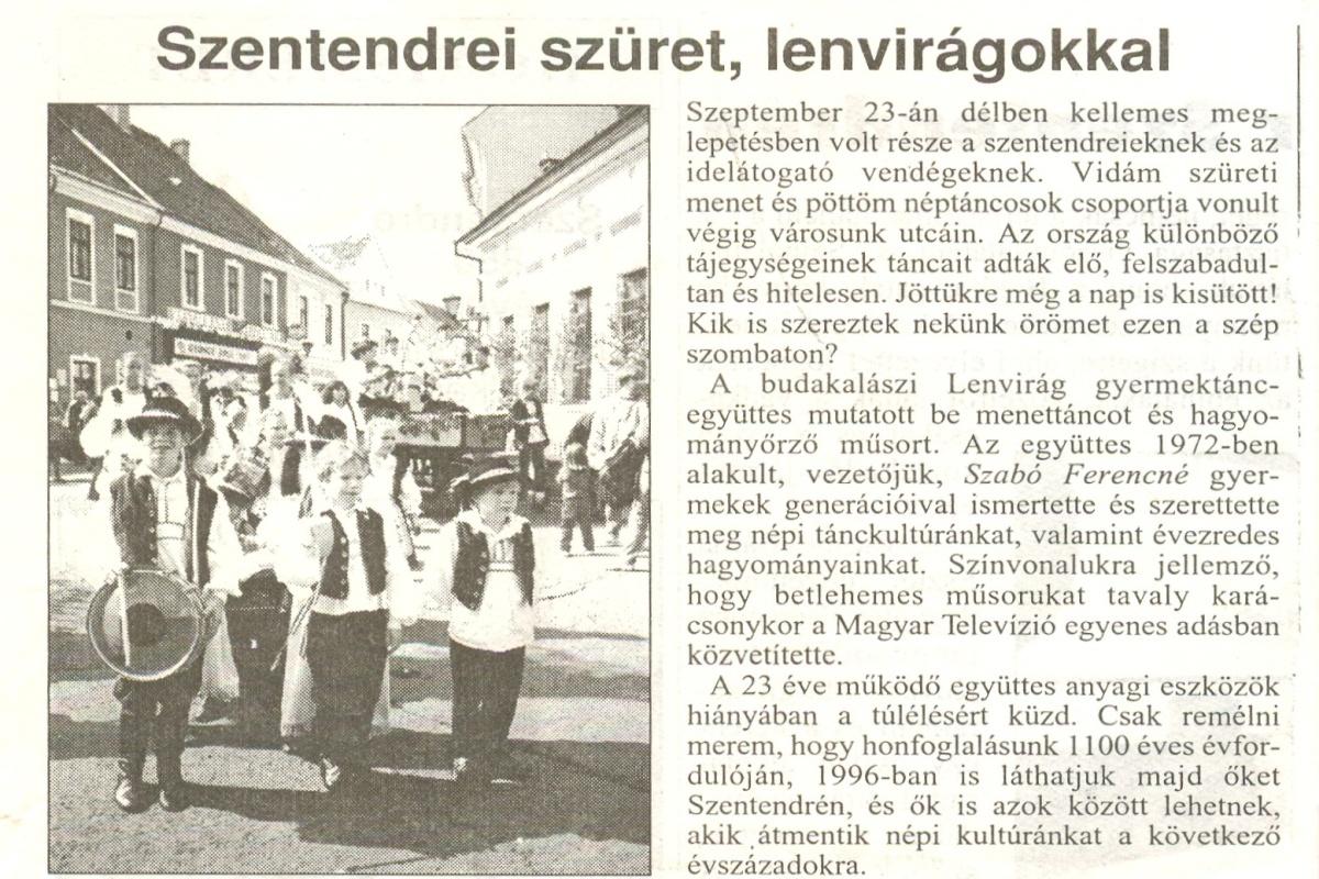 Szüreti mulatság Szentendrén<br/>[1995. szeptember 23.]<br/>